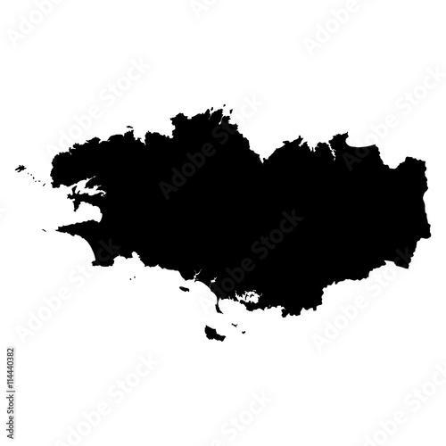 Photo Brittany black map on white background vector