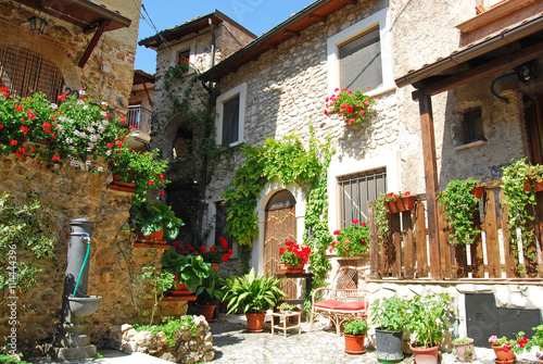 Aluminium Prints Tuscany A characteristic corner of the village of Assergi in the Abruzzi