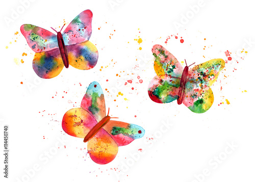 Tuinposter Vlinders in Grunge Set of three colorful butterflies, composed of splashes of paint