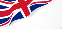 Union Jack Waving Flag Vector Illustration.