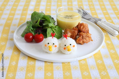 Fototapety, obrazy: One Plate Healthy Meal with Chicken Shaped Rice ball