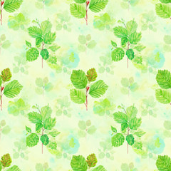 NaklejkaWatercolor floral seamless pattern with spring young green leaves, hazelnut branches on green background