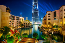 Famous Downtown Area In Dubai At Night. United Arab Emirates.