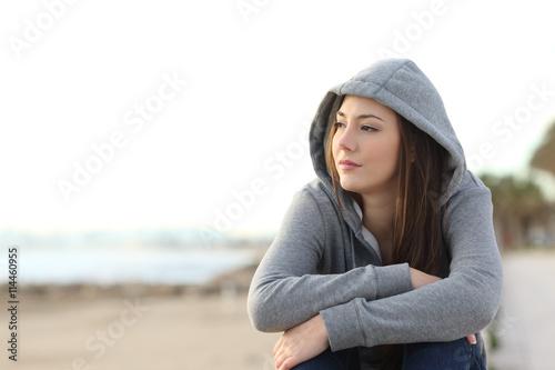 Fotografie, Obraz  Longing pensive teenager looking away