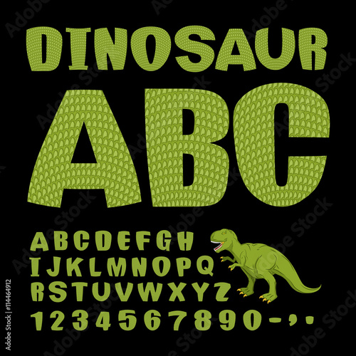 Photo  Dinosaur ABC. Font of prehistoric reptile. Green letters. Textur
