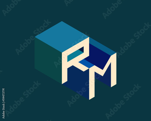 rm isometric 3d letter logo three dimensional stock vector alphabet font typography design buy this stock vector and explore similar vectors at adobe stock adobe stock rm isometric 3d letter logo three