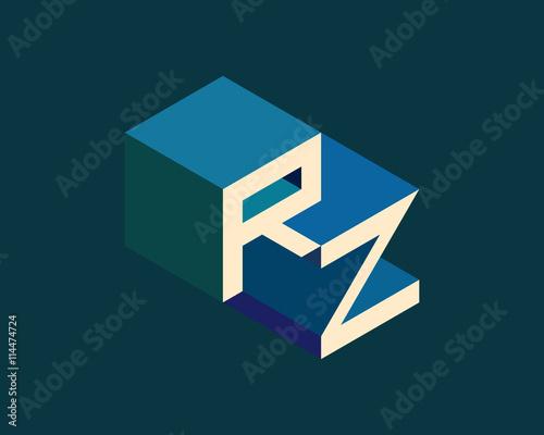 RZ Isometric 3D Letter Logo Three Dimensional Stock Vector Alphabet Font Typography Design