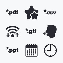 Document Signs. File Extensions Symbols.