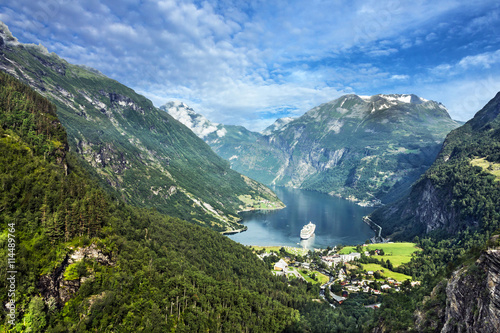 Geiranger fjord, Norway. Mountain sea view