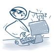 Strichmännchen als Hacker vor dem Computer
