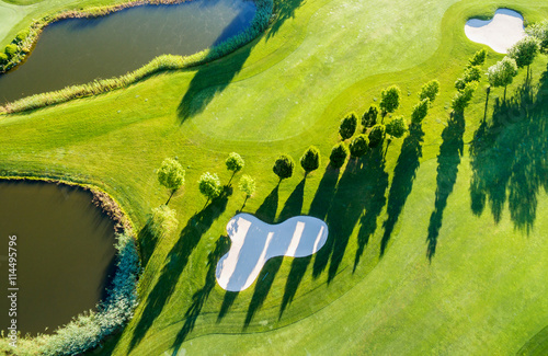Poster Golf Golf Club - Aerial view - Green & Bunker