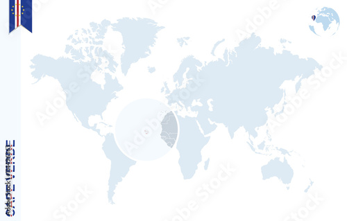 Where Is Cape Verde Located On The World Map.Blue World Map With Magnifying On Cape Verde Buy This Stock
