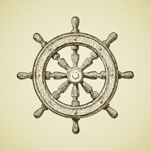 Hand-drawn Vintage Ships Wheel In The Old-fashioned Style. Vector Illustration