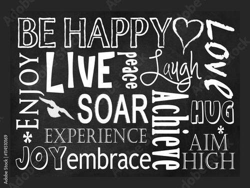 Photo  Typography art concept, Be Happy