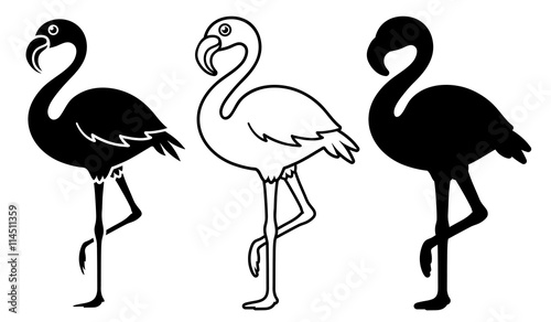 Obraz na plátně Vector Image Of Silhouette Flamingoes