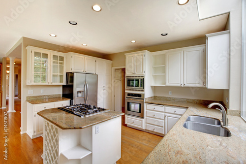 Clic American Kitchen Interior With White Cabinets And Built In Stainless Steel Fridge Licensed