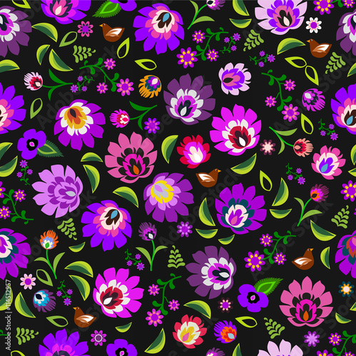 plakat Traditional Polish folk floral pattern vector