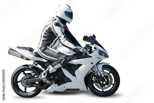 Keuken foto achterwand Motorsport Motorcycle racer on white