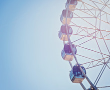 Big Observation Wheel On Blue Sky Background. Close Up Of Wheel Cabins, Capsules. Great Leisure Activity For Family And Friends. Big Wheel In Amusement Park.