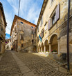 typical alley in Groznjan - old medieval town in Istria, Croatia