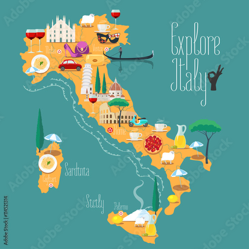 Photo  Map of Italy vector illustration, design