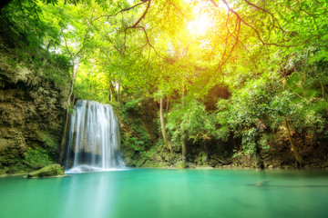 Erawan Waterfall, beautiful waterfall in spring forest in Thailand.