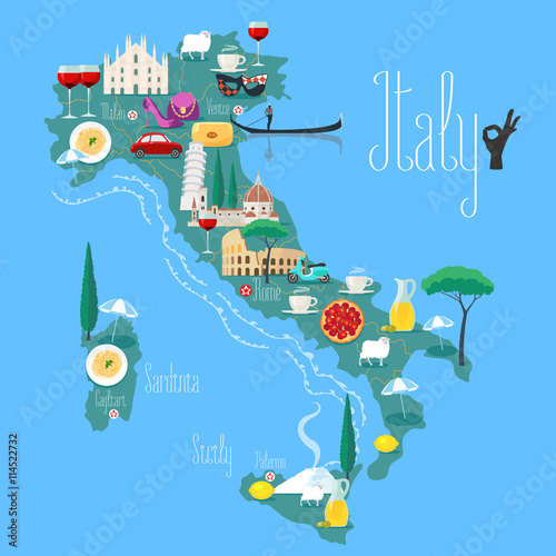 Fotografia  Map of Italy vector illustration, design