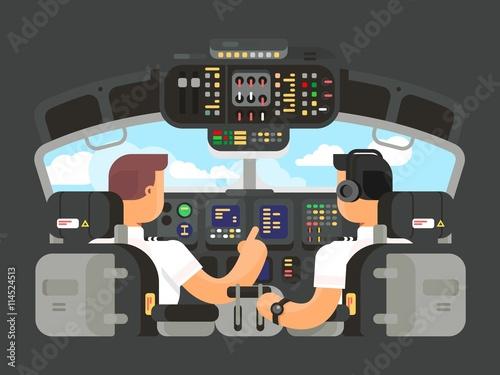 Fényképezés Pilots in cockpit flat design