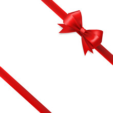 Red Silky Bow Ribbon On White Background. Holidays Gift Symbol