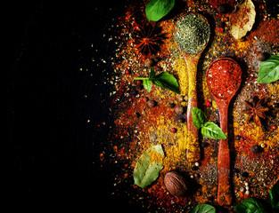 Fototapeta Przyprawy Oriental spices, food background, top view