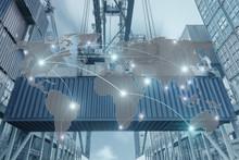 Import, Export, Logistics Concept - Map Global Partner Connectio