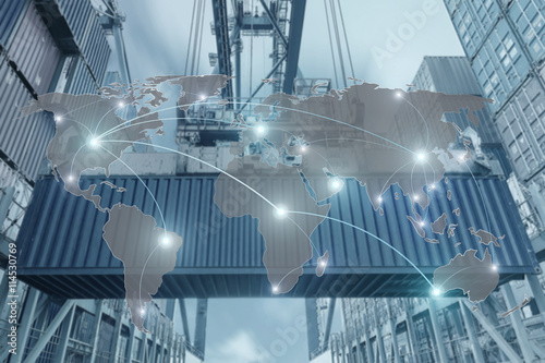 Valokuva  Import, Export, Logistics concept - Map global partner connectio
