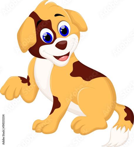 Printed kitchen splashbacks Fairytale World cute dog cartoon sitting