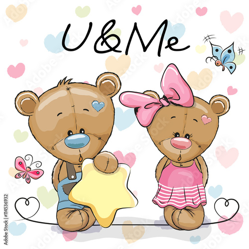 obraz PCV Two Cute Bears