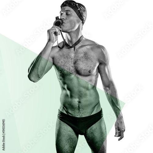 Composite image of swimmer kissing his gold medal Wallpaper Mural