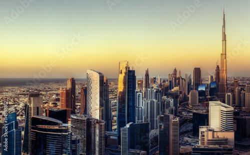 Recess Fitting Dubai Fantastic Dubai towers at sunset. Skyline.
