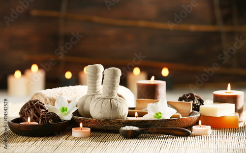 Fototapety, obrazy: Spa composition with candles on brown background