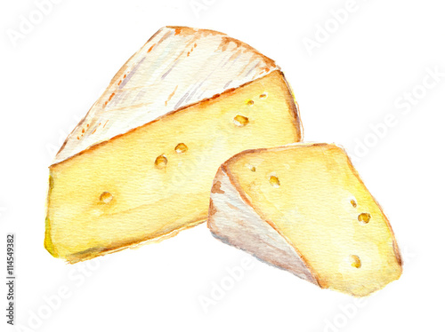 Photo  Cheese slices. Watercolor picture