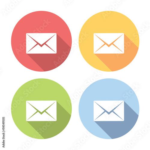 Fotografía  Mail Envelope Flat Icons Set