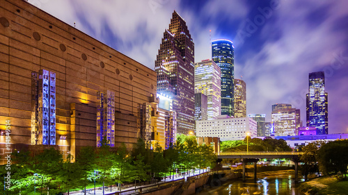 Wall Murals Texas Houston, Texas Downtown Skyline at Night
