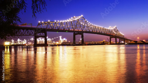 Baton Rouge Bridge Over Mississippi River in Louisiana at Night Canvas Print