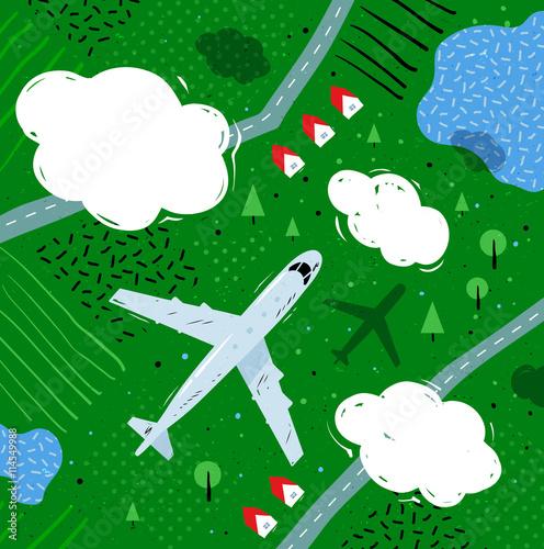 Deurstickers Groene Plane flying above rural landscape