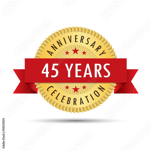 фотография  Forty five years anniversary celebration icon logo