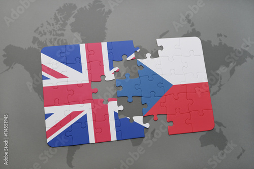 Photo  puzzle with the national flag of great britain and czech republic on a world map