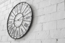 A Wall Clock On Rock Wallpaper...