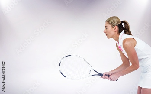 Pinturas sobre lienzo  Composite image of athlete playing tennis with a racket