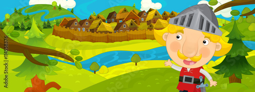 Fotografía  Cartoon scene in the old village - happy villagers altogether - background for d