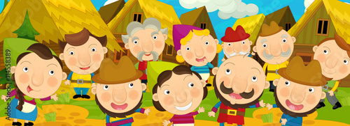 Obraz na plátně Cartoon scene in the old village - happy villagers altogether - background for d