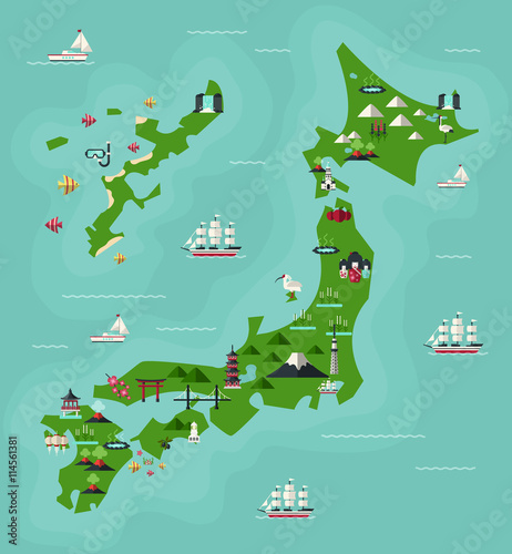 Japan Travel Map with famous Landmarks. Flat Design Style ...
