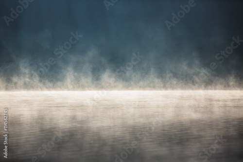 Printed kitchen splashbacks Lake Morning fog on the lake
